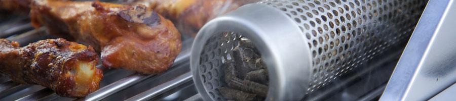 using a pellet smoker beside meat