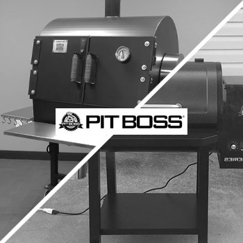 Pitboss logo and grill
