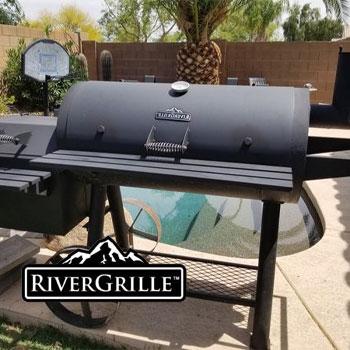 A grill in a backyard