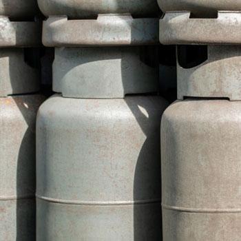 Propane tanks in a stack
