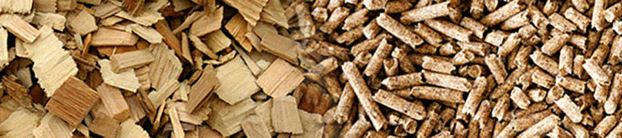 Wood chips and wood pellets combined