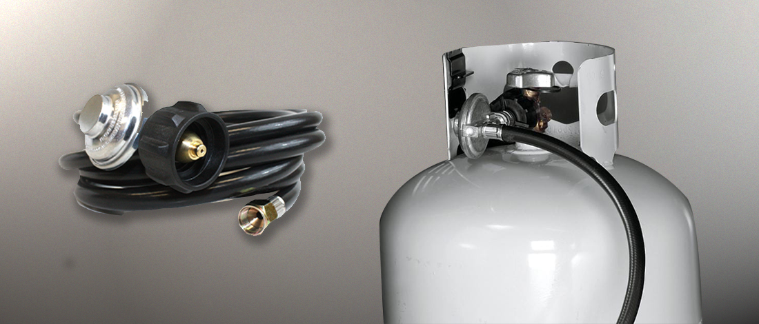 A gas tank and a gas tube attached to a regulator that cause most gas grill regulator problems