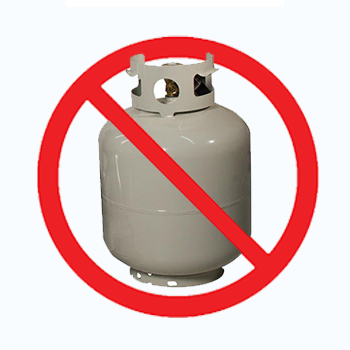 A gas tank with 'no' symbol