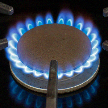 A low flame on a stove