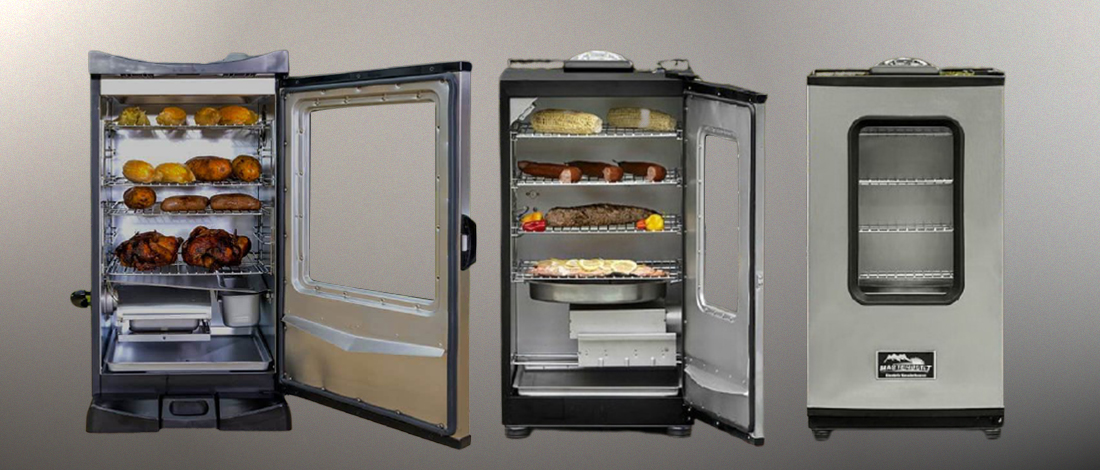An open and closed Masterbuild smoker