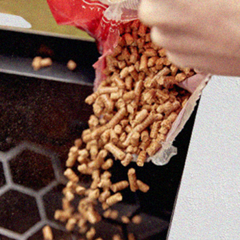 Pouring wood pellets to an electric smoker