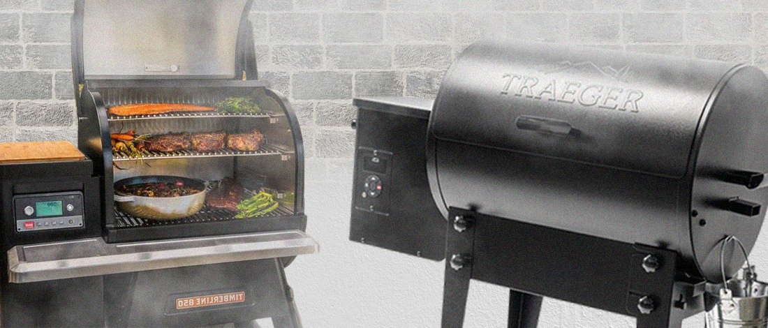 An open and closed Traeger smoker