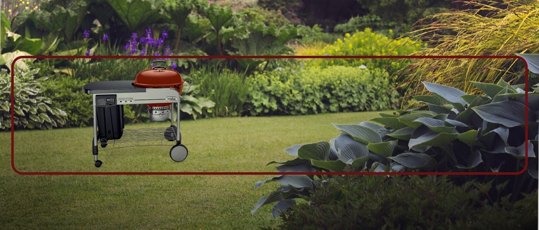 A pricey Weber outdoor grill in a garden