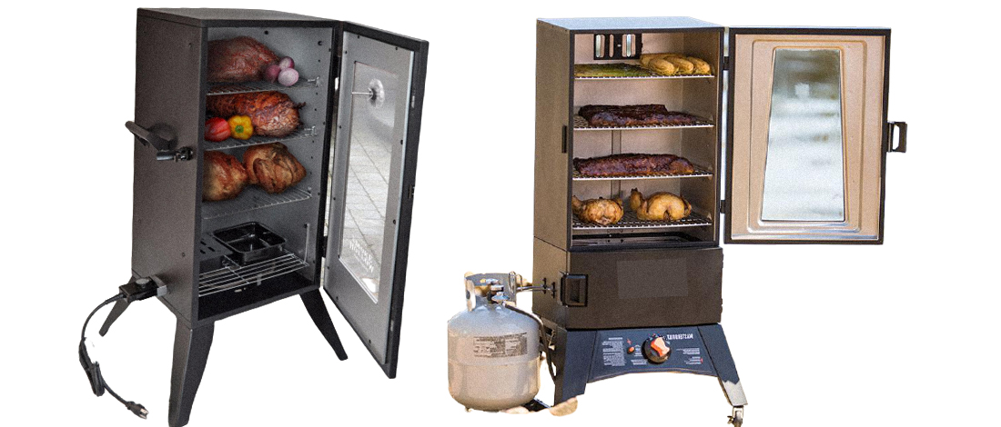 Electric and propane smokers on a white background
