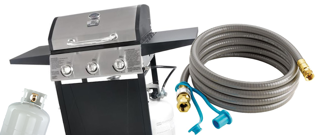 A propane gas grill and a natural gas hose
