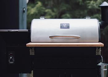A pellet grill outside