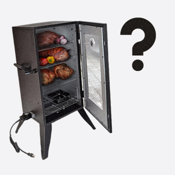 An electric smoker with a question mark