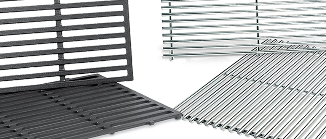 A stainless steel and a cast iron grill grates on a white background