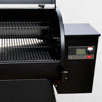An opened Traeger grill
