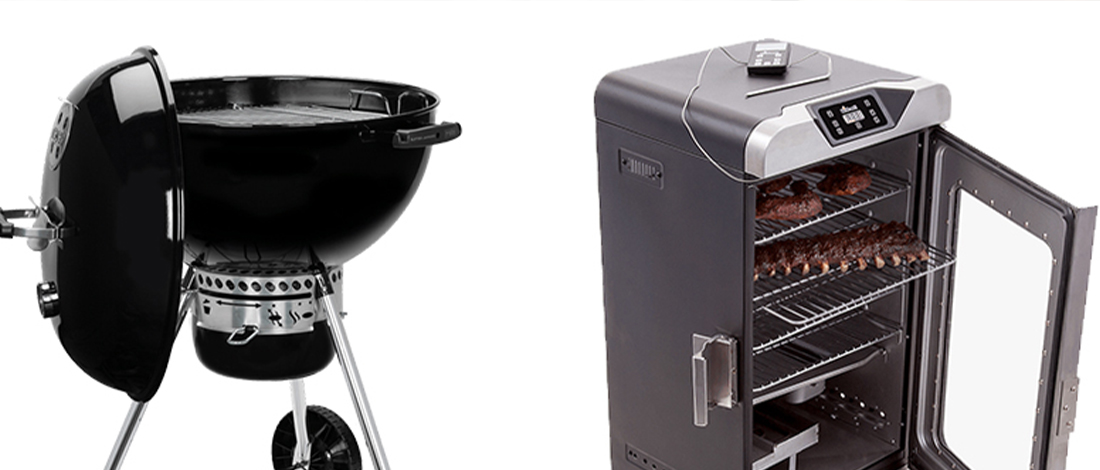 Charcoal and electric smoker lined up next to each other