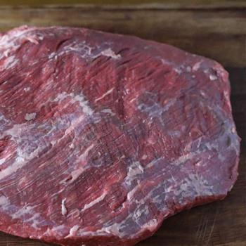Fat side down of a brisket meat
