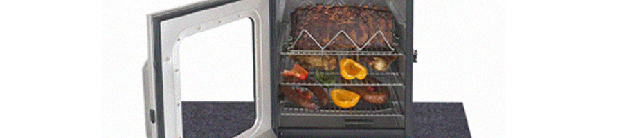 A see through electric smoker with foods inside