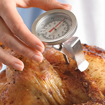 A chicken with a thermometer