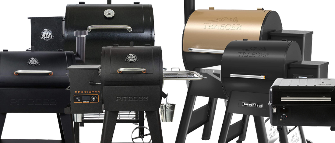 Pit Boss grills and Traeger grills collage